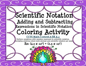 Scientific Notation Addition and Subtraction - CCSS 8.EE.A.4