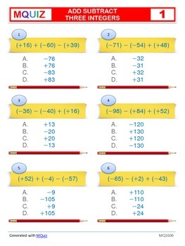 Add and Subtract Three Integers - Multiple Choices