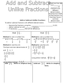 Add and Subtract Unlike Fractions