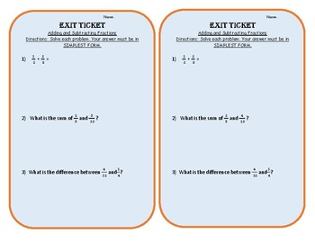 Add and Subtract Unlike Fractions Exit Slip
