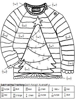 Add and Subtract Unlike Fractions: UGLY SWEATERS! Solve-and-Color Practice Pack