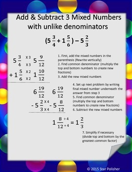 Add and Subtract Unlike Mixed Numbers