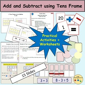 Add and Subtract Using Tens Frames, Presentation, Flashcards, Worksheets, Notes