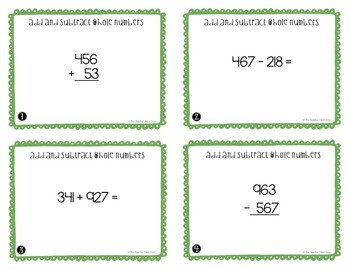 4th Grade Add and Subtract Whole Numbers Task Cards