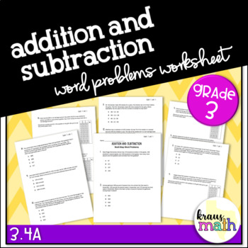 Add and Subtract Whole Numbers- Multi-Step Word Problems GRADE 3