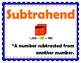 Add and Subtract Whole Numbers 4th Grade My Math Vocabulary Posters
