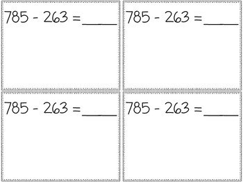Add and Subtract Within 1000 Review Cards