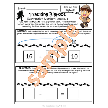 "Add and Subtract Within 20 Activities and Worksheets ""Tracking Bigfoot"""