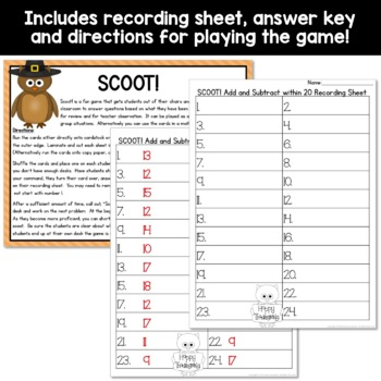 Add and Subtract Within 20 First Grade Scoot! (1OA.C5; 1.OA.C6; 1OA.B3)