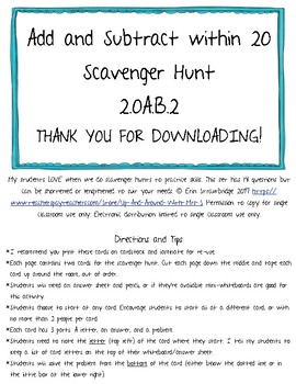 Add and Subtract Within 20 Scavenger Hunt