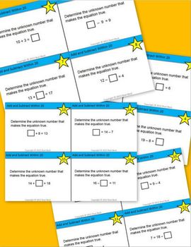 Add and Subtract Within 20 Task Cards (CCSS.2.OA.B.2) {Adding and Subtracting}