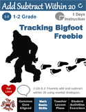 """Add and Subtract Within 20 Freebie """"Tracking Bigfoot"""" Exercise"""