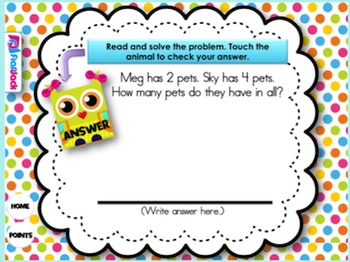 Add and Subtract Word Problems Smart Board Game