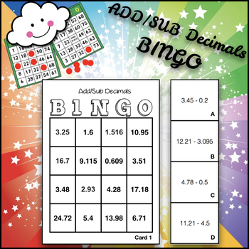 Add and Subtract decimal bingo to the thousandths place