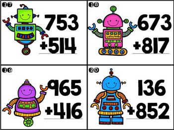 Add and Subtract like a Robot: double and triple digit task cards
