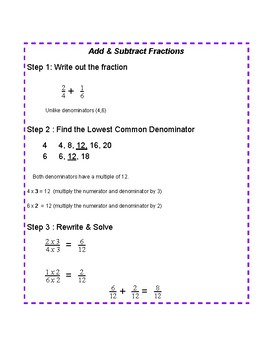 Add and Subtract of Fractions Anchor Chart