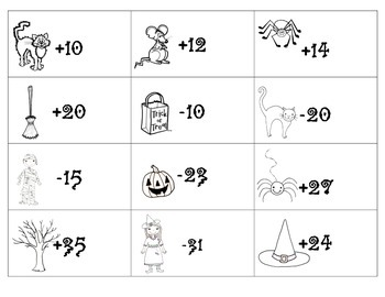 Add and Subtract on Hundreds Chart Game (Halloween Theme)