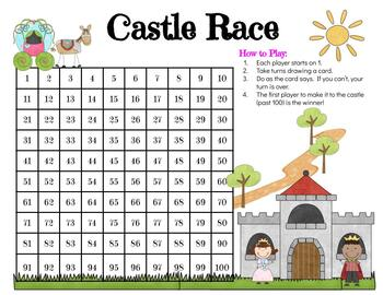 Add and Subtract on a Hundreds Chart Game (Castle-Themed)