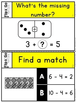 Add and Subtract to 10 - Kindergarten Math Tasks Cards