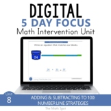 Add and Subtract to 100 on a Number Line 2nd Grade Digital