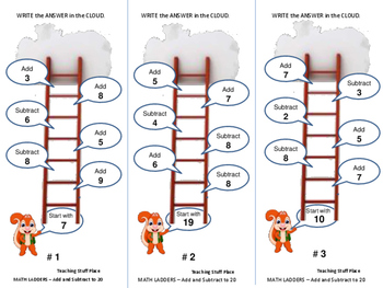 Add and Subtract to 20 | PRACTICE | on Ladders | Early Finishers | Gr. 1-2 MATH