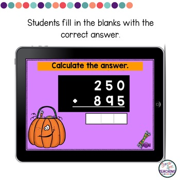 Add and Subtract with Regrouping Digital Task Cards | Halloween Themed