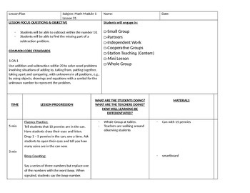 Add and Subtract within 10 Lesson Plan