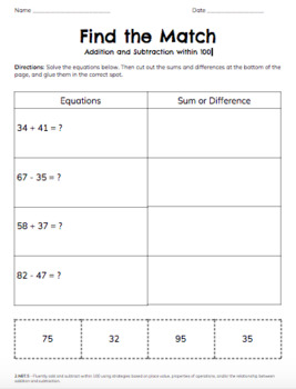 Freebie! Add and Subtract within 100