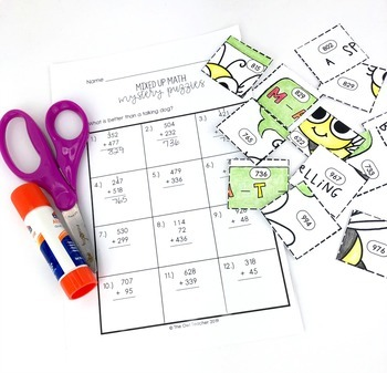 Add and Subtract within 1000 Mixed Up Math Puzzles