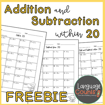 Add and Subtract within 20 Worksheet Freebie by Language ...