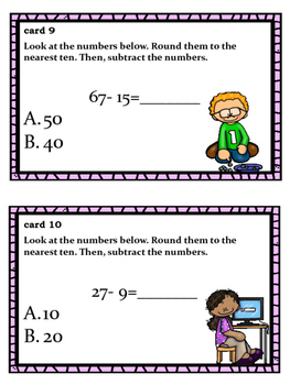 Add and Subtracting Using Rounding Task Cards for Lower Elementary