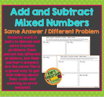 Add and Subttract Mixed Number Partner Practice Activity