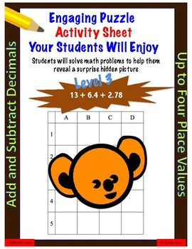 Add and subtract decimals fun puzzle worksheet (up to 4 decimal places)