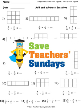 Add and subtract fractions plans, worksheets (rectangular diagrams) and more