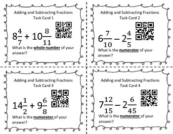 Add and subtract fractions task card with QR code Common Core 7th grade