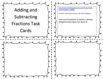 Add and subtract fractions task card with QR code Common C