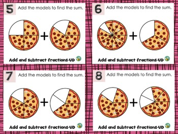 Add/Subtract fractions task cards-unlike denominators-5.NF1