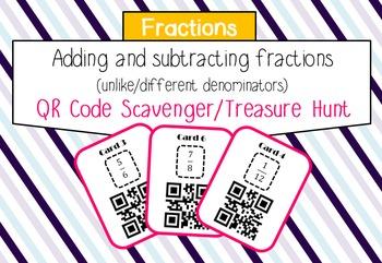Add and subtract fractions (proper) with unlike denominators QR scavenger hunt