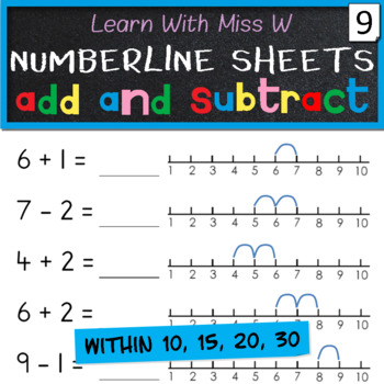 Add and subtract on a numberline worksheets