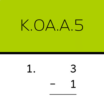 K.OA.A.5: Add and subtract within 5 (50 worksheets, vertical problems)