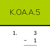 K.OA.A.5: Add and subtract within 5 (50 worksheets, vertic