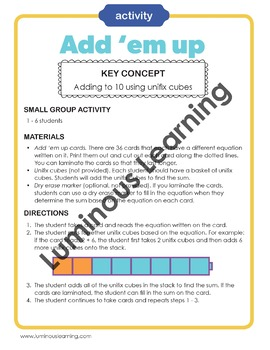 Add 'em Up With Unifix Cubes: Fun Addition Game