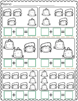 Add in Any Order Halloween Worksheets