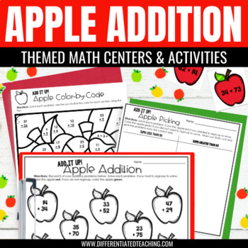 Differentiated Addition Math Center {Apple-Themed} for 2nd & 3rd Grade