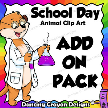 Add-on Pack - Animals at School Clip Art