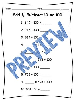 Add or Subtract 10 & 100