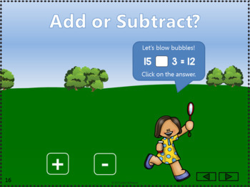 Add or Subtract 11 to 20 Interactive Math Game {bubbles}