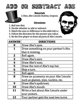 Add or Subtract Abe - A Strategic President's Day Activity to Add or Subtract