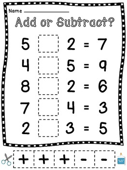 Addition and Subtraction Cut Sort Pastes (Choosing an Operation)