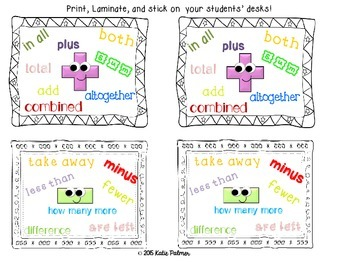 Add or Subtract?? Desk Tags & Clue Words Station Game